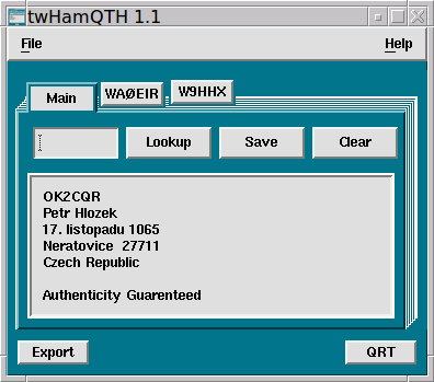twHamQTH - a ham callsign lookup program