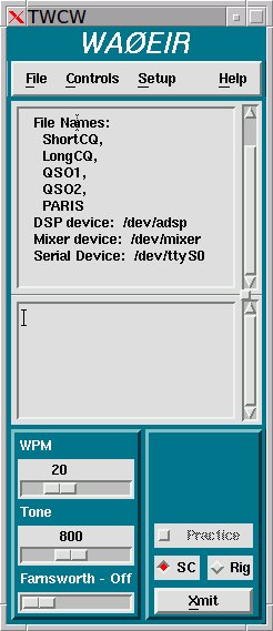 twcw - linux ham radio software to send CW